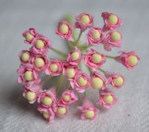 ROSY PINK GYPSOPHILA / FORGET ME NOT with Beads Mulberry Paper Flowers